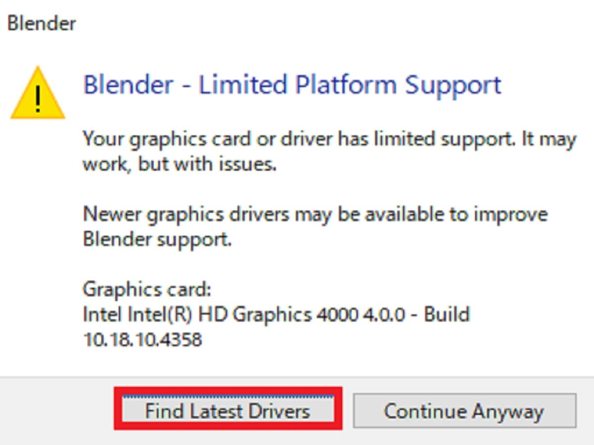 Blender警告画像